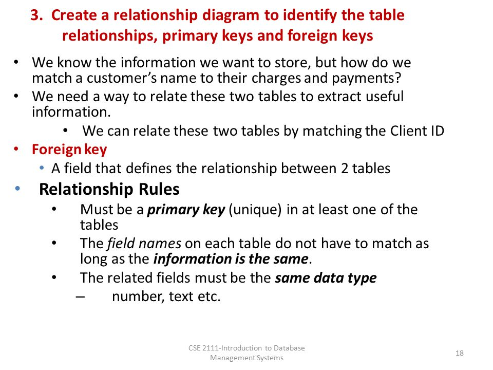 3. Create a relationship diagram to identify the table relationships, primary keys and foreign keys We know the information we want to store, but how