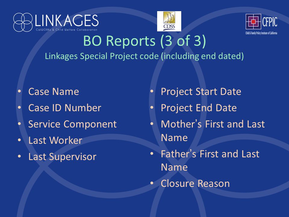 BO Reports (3 of 3) Linkages Special Project code (including end dated) Case Name Case ID Number Service Component Last Worker Last Supervisor Project Start Date Project End Date Mother ' s First and Last Name Father ' s First and Last Name Closure Reason
