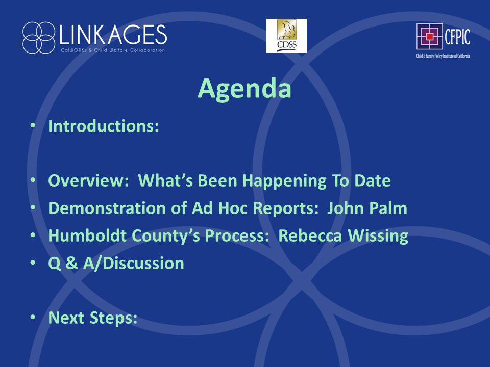 Agenda Introductions: Overview: What's Been Happening To Date Demonstration of Ad Hoc Reports: John Palm Humboldt County's Process: Rebecca Wissing Q & A/Discussion Next Steps: