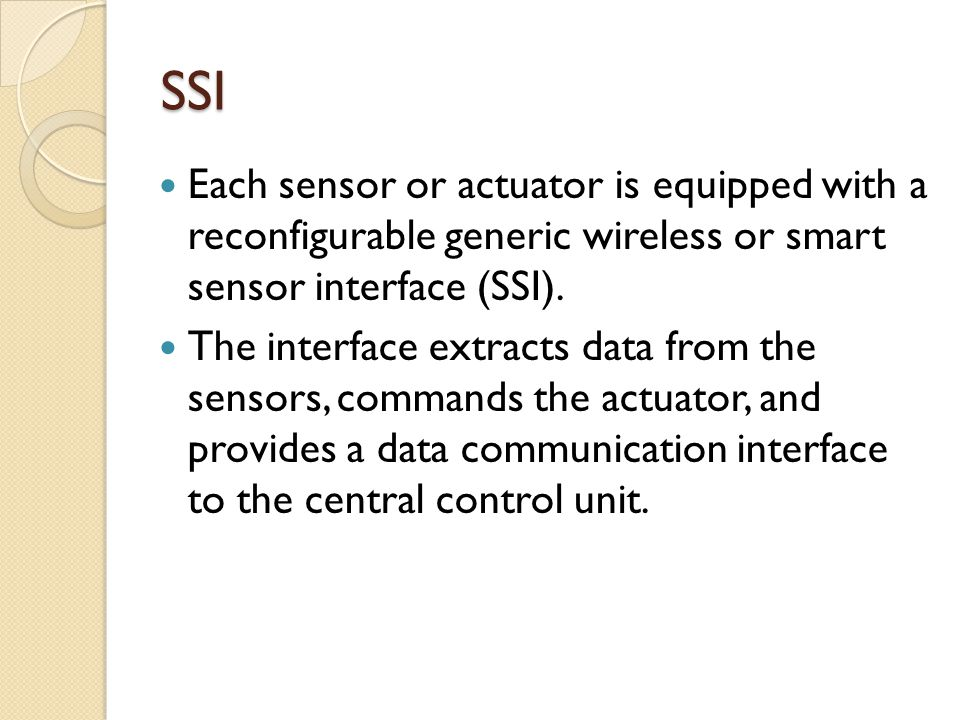 SSN A sensor/actuator coupled with SSI is termed as a smart sensor node (SSN).