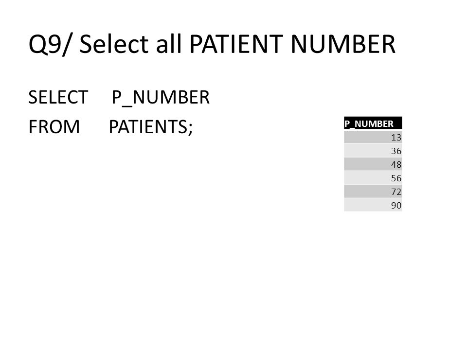 Q9/ Select all PATIENT NUMBER SELECT P_NUMBER FROM PATIENTS; P_NUMBER 13 36 48 56 72 90