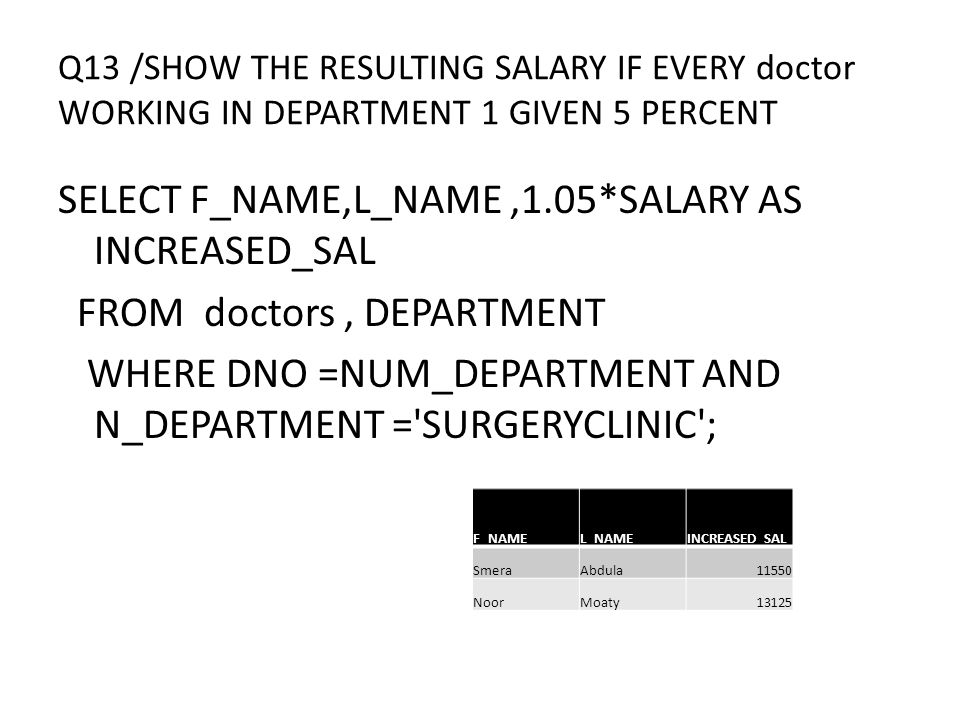 Q13 /SHOW THE RESULTING SALARY IF EVERY doctor WORKING IN DEPARTMENT 1 GIVEN 5 PERCENT SELECT F_NAME,L_NAME,1.05*SALARY AS INCREASED_SAL FROM doctors, DEPARTMENT WHERE DNO =NUM_DEPARTMENT AND N_DEPARTMENT = SURGERYCLINIC ; INCREASED_SALL_NAMEF_NAME 11550AbdulaSmera 13125MoatyNoor