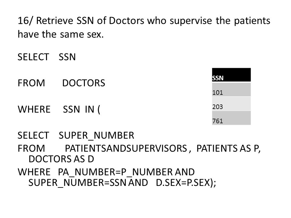16/ Retrieve SSN of Doctors who supervise the patients have the same sex.
