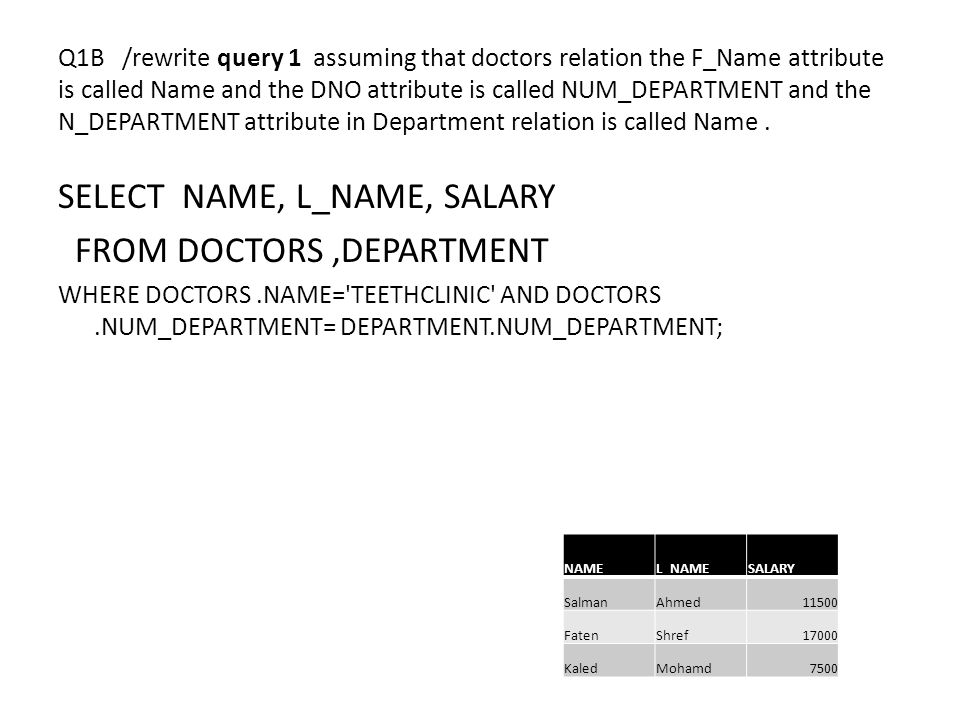 Q1B /rewrite query 1 assuming that doctors relation the F_Name attribute is called Name and the DNO attribute is called NUM_DEPARTMENT and the N_DEPARTMENT attribute in Department relation is called Name.