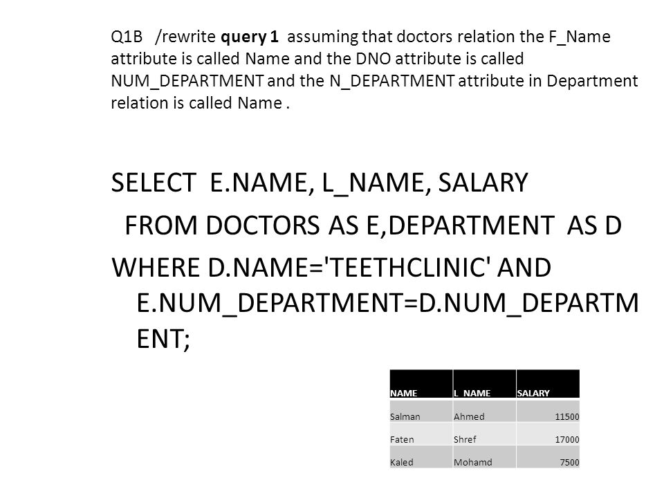 Q1B /rewrite query 1 assuming that doctors relation the F_Name attribute is called Name and the DNO attribute is called NUM_DEPARTMENT and the N_DEPAR