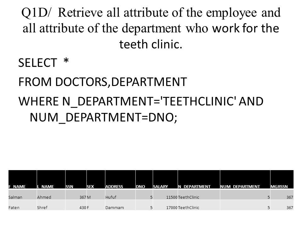 Q1D/ Retrieve all attribute of the employee and all attribute of the department who work for the teeth clinic. SELECT * FROM DOCTORS,DEPARTMENT WHERE