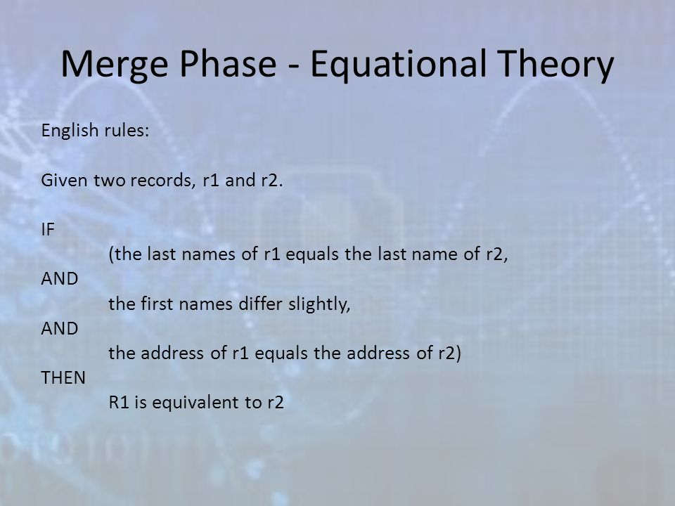 Merge Phase - Equational Theory English rules: Given two records, r1 and r2.