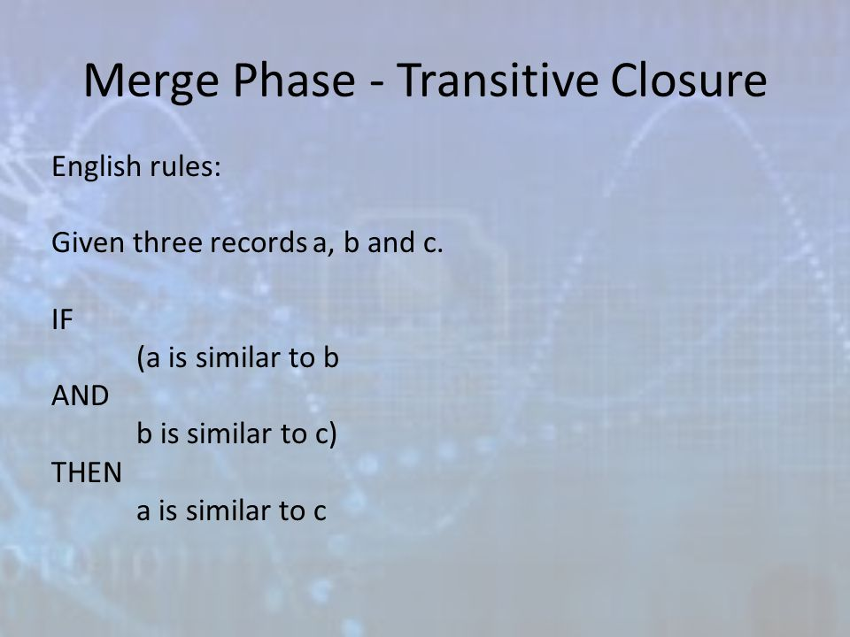 Merge Phase - Transitive Closure English rules: Given three records a, b and c.