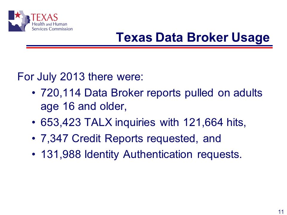 Texas Data Broker Usage For July 2013 there were: 720,114 Data Broker reports pulled on adults age 16 and older, 653,423 TALX inquiries with 121,664 hits, 7,347 Credit Reports requested, and 131,988 Identity Authentication requests.