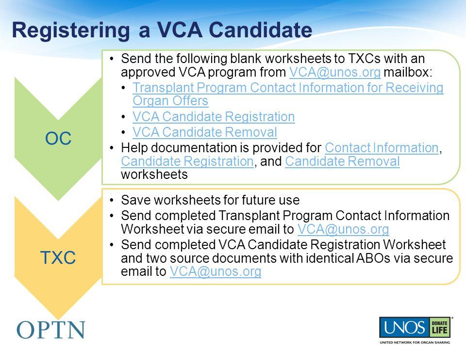 Registering a VCA Candidate