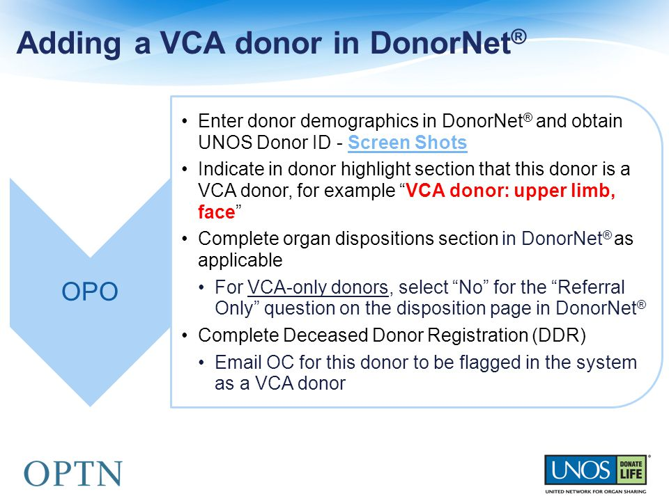 Adding a VCA donor in DonorNet ®