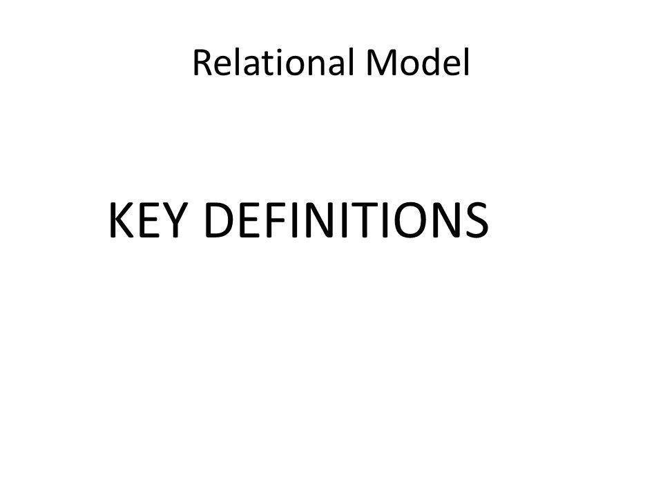 Relational Model KEY DEFINITIONS