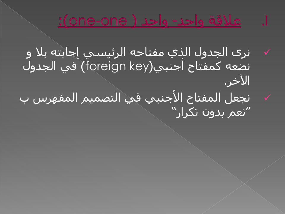 نرى الجدول الذي مفتاحه الرئيسي إجابته بلا و نضعه كمفتاح أجنبي (foreign key) في الجدول الآخر.
