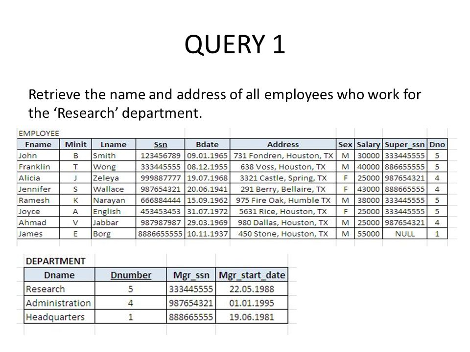 QUERY 1 Retrieve the name and address of all employees who work for the 'Research' department.