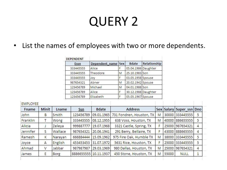 QUERY 2 List the names of employees with two or more dependents.