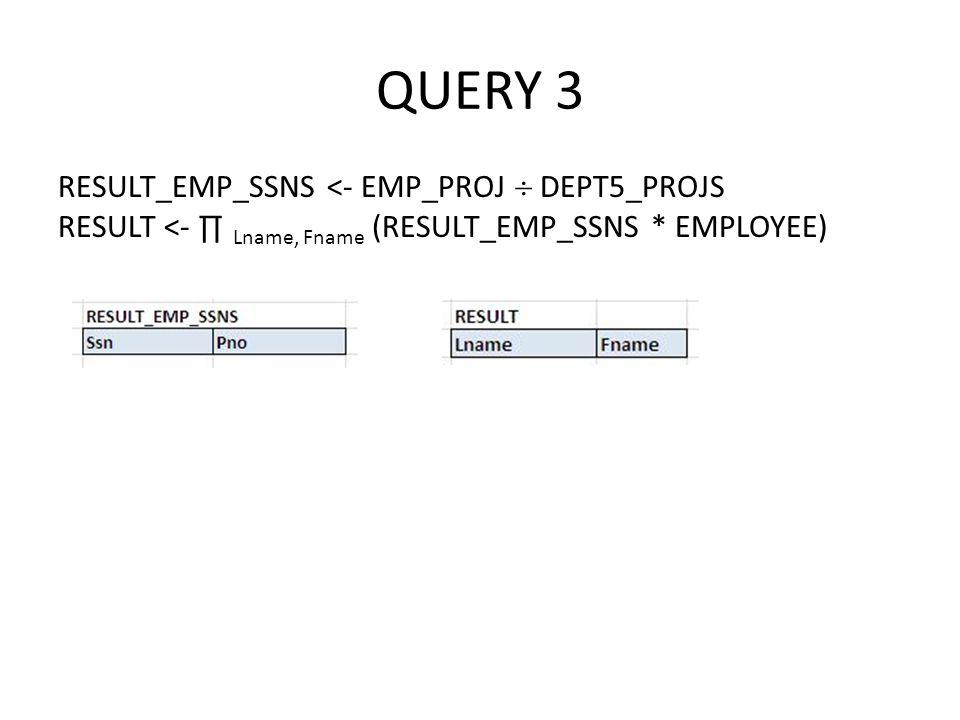QUERY 3 RESULT_EMP_SSNS <- EMP_PROJ  DEPT5_PROJS RESULT <- ∏ Lname, Fname (RESULT_EMP_SSNS * EMPLOYEE)
