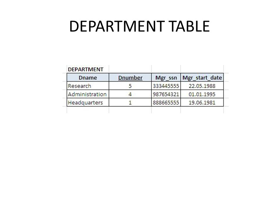 DEPARTMENT TABLE