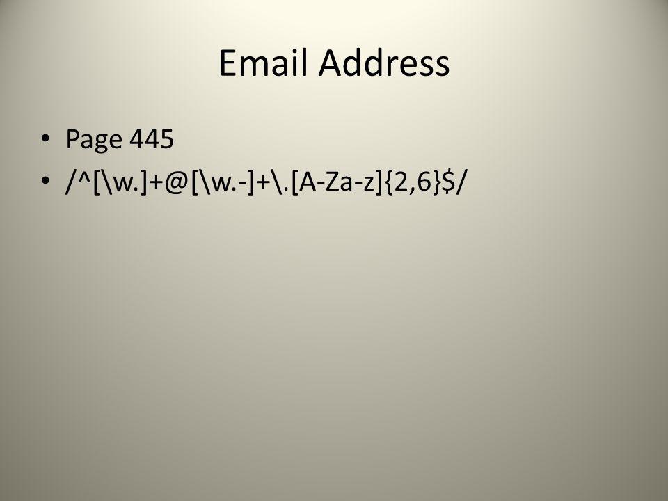 Email Address Page 445 /^[\w.]+@[\w.-]+\.[A-Za-z]{2,6}$/