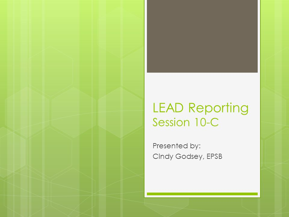LEAD Reporting Session 10-C Presented by: Cindy Godsey, EPSB