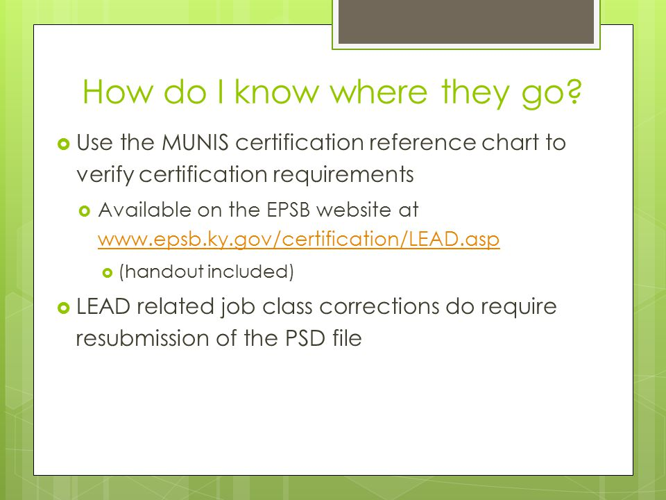Certification Reference Chart