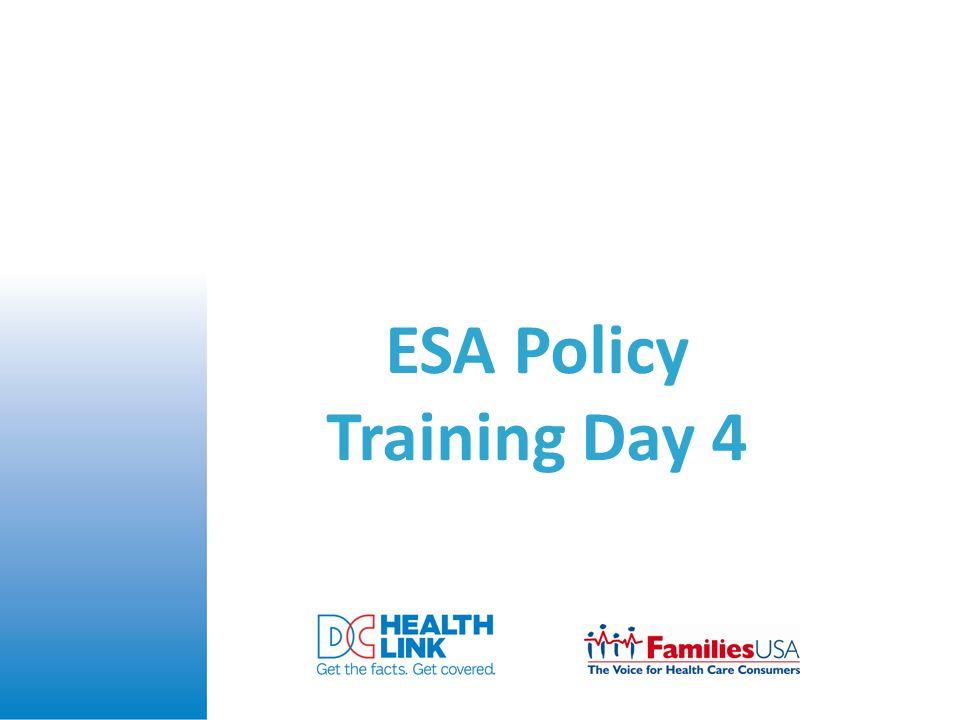 ESA Policy Training Day 4