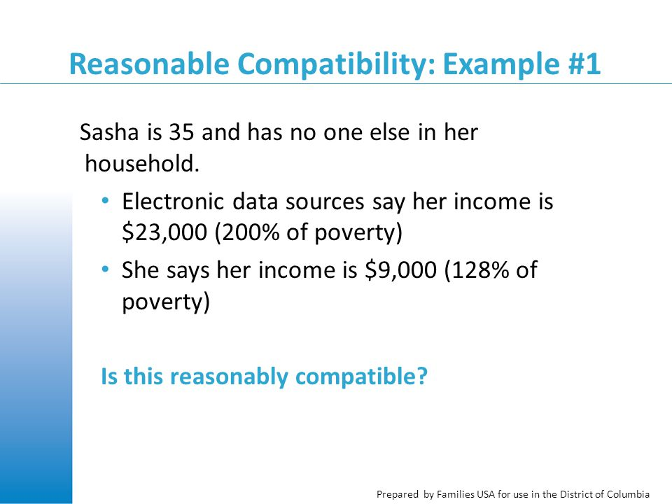 Prepared by Families USA for use in the District of Columbia Reasonable Compatibility: Example #1 Sasha is 35 and has no one else in her household.