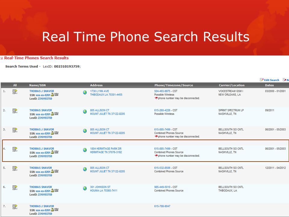 Real Time Phone Search Results