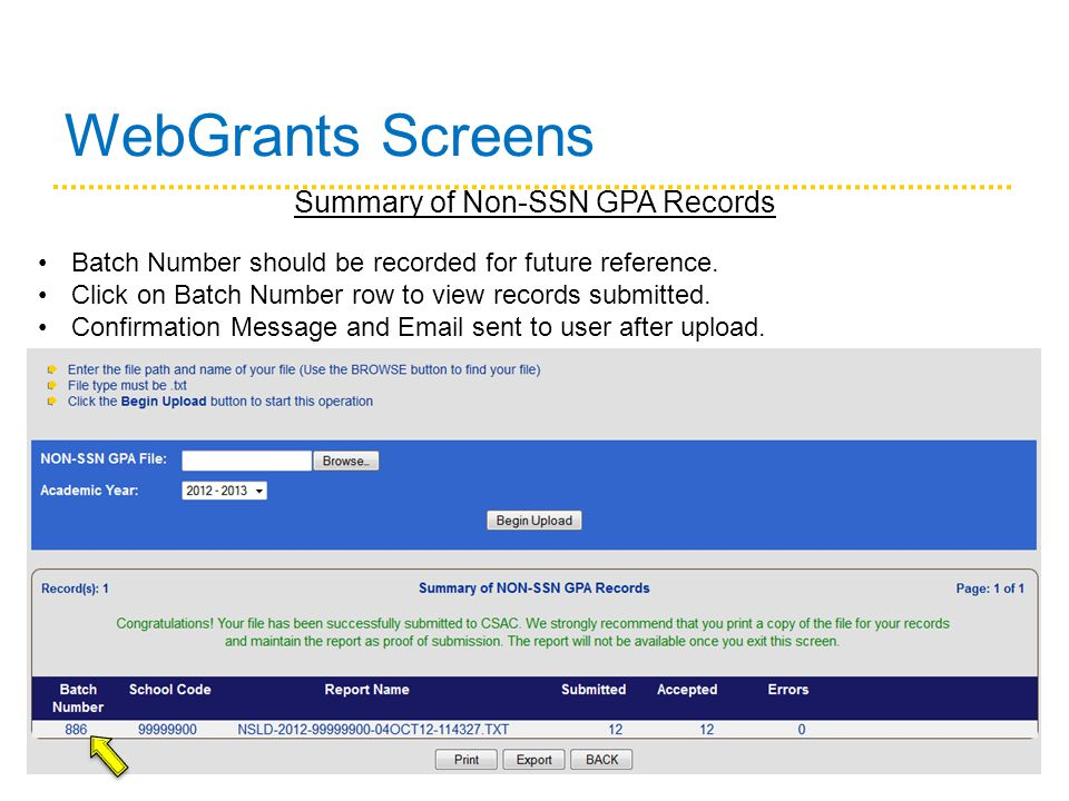 WebGrants Screens Summary of Non-SSN GPA Records Batch Number should be recorded for future reference.