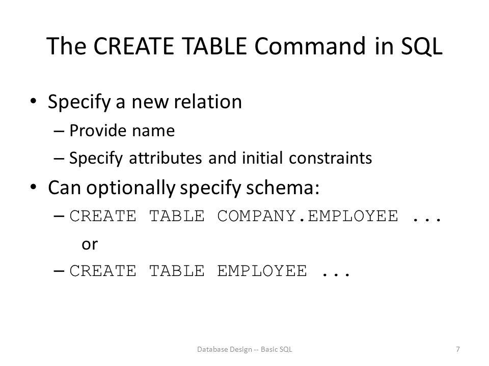 Database Design -- Basic SQL18