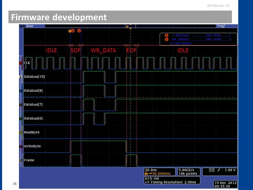 Firmware development 16 18 February '13 USBpix Upgrade IDLESOFWR_DATAEOFIDLE