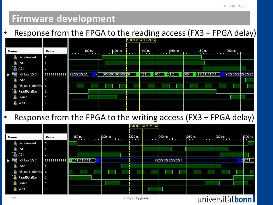 Firmware development 18 February '13 22 Response from the FPGA to the reading access (FX3 + FPGA delay) Response from the FPGA to the writing access (