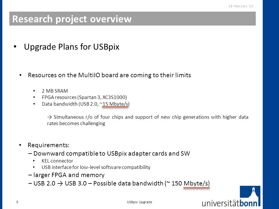 Research project overview 5 Upgrade Plans for USBpix 18 February '13 USBpix Upgrade Resources on the MultiIO board are coming to their limits 2 MB SRA