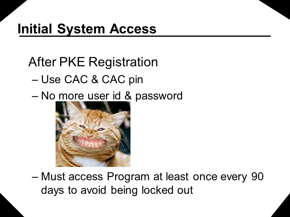 Initial System Access After PKE Registration –Use CAC & CAC pin –No more user id & password –Must access Program at least once every 90 days to avoid