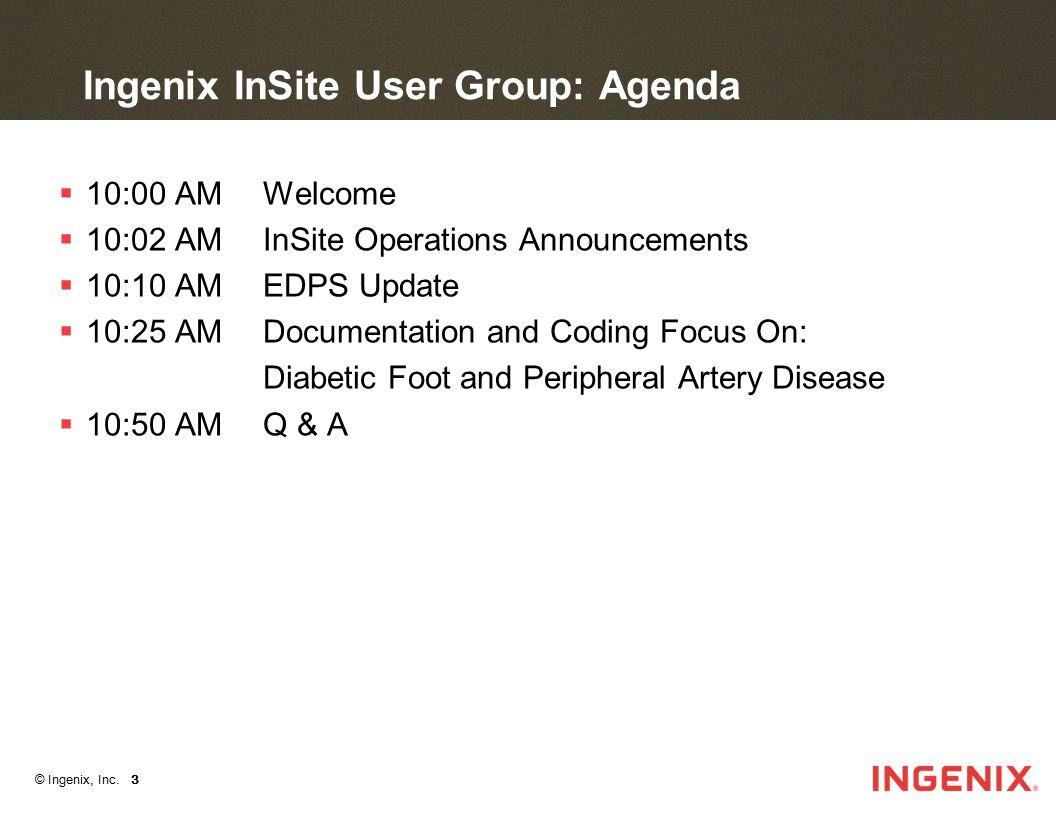 © Ingenix, Inc. 3 Ingenix InSite User Group: Agenda  10:00 AM Welcome  10:02 AM InSite Operations Announcements  10:10 AM EDPS Update  10:25 AM Do