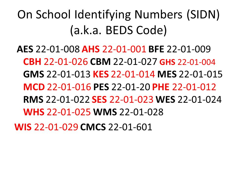 On School Identifying Numbers (SIDN) (a.k.a. BEDS Code) AES 22-01-008 AHS 22-01-001 BFE 22-01-009 CBH 22-01-026 CBM 22-01-027 GHS 22-01-004 GMS 22-01-