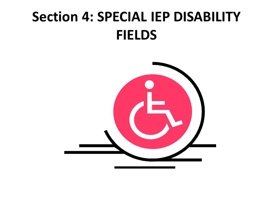 Section 4: SPECIAL IEP DISABILITY FIELDS