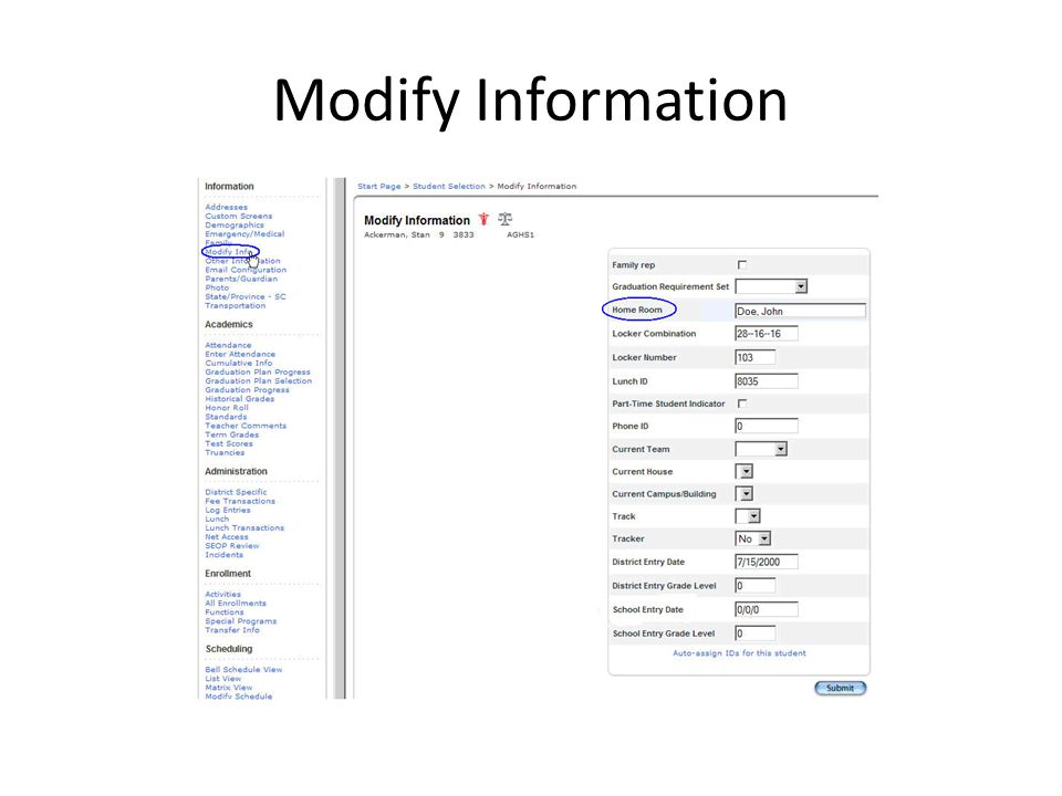 Modify Information