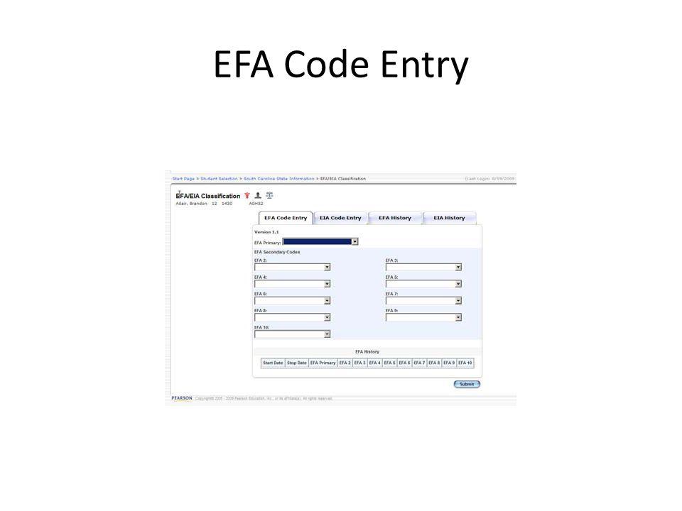 EFA Code Entry
