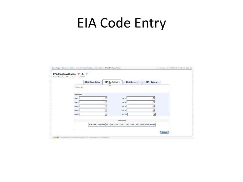 EIA Code Entry