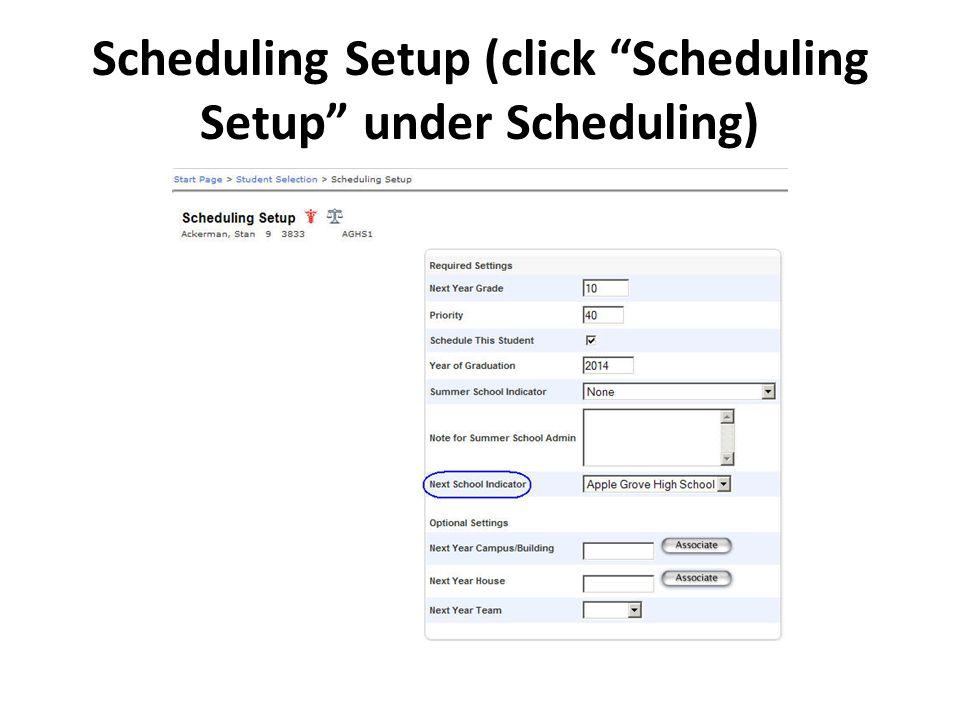 Scheduling Setup (click Scheduling Setup under Scheduling)
