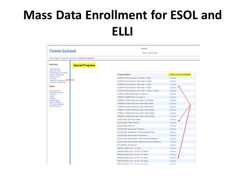 Mass Data Enrollment for ESOL and ELLI