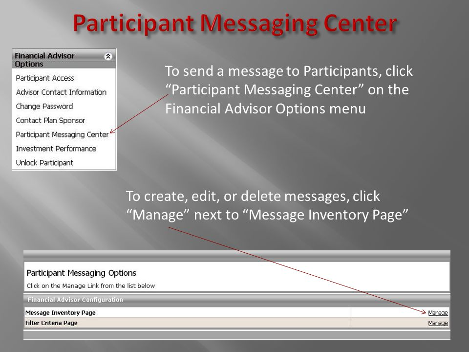 To send a message to Participants, click Participant Messaging Center on the Financial Advisor Options menu To create, edit, or delete messages, click Manage next to Message Inventory Page