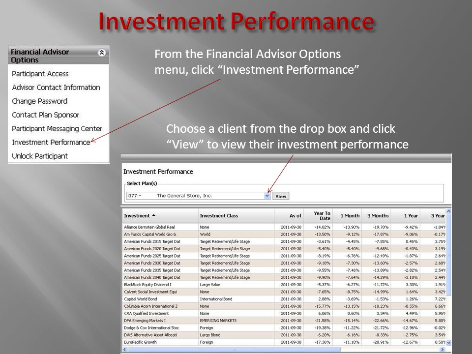 From the Financial Advisor Options menu, click Investment Performance Choose a client from the drop box and click View to view their investment performance
