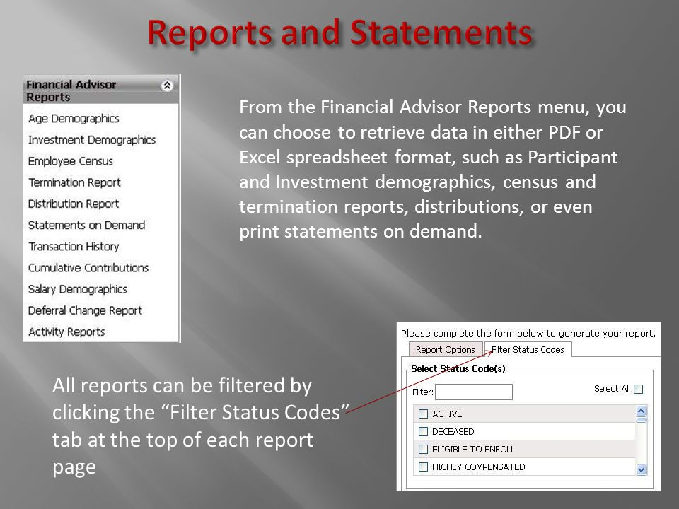From the Financial Advisor Reports menu, you can choose to retrieve data in either PDF or Excel spreadsheet format, such as Participant and Investment