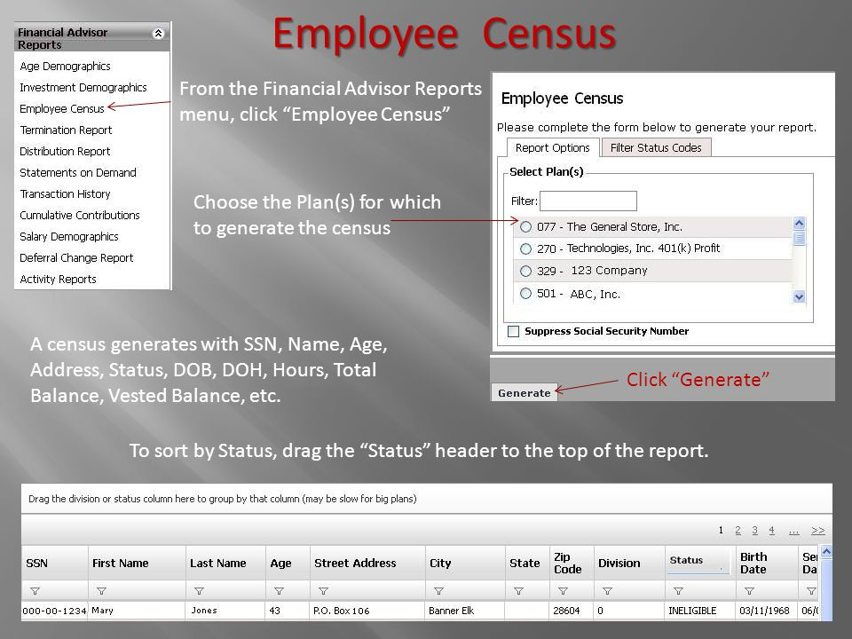 """Employee Census From the Financial Advisor Reports menu, click """"Employee Census"""" Choose the Plan(s) for which to generate the census A census generate"""