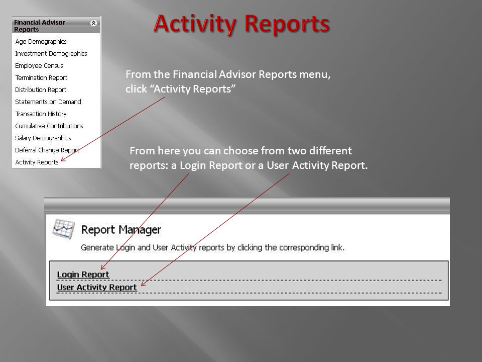 From the Financial Advisor Reports menu, click Activity Reports From here you can choose from two different reports: a Login Report or a User Activity Report.