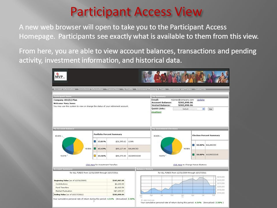 Participant Access View A new web browser will open to take you to the Participant Access Homepage. Participants see exactly what is available to them