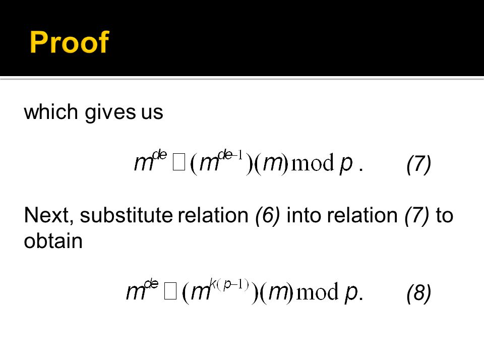 which gives us. (7) Next, substitute relation (6) into relation (7) to obtain. (8)