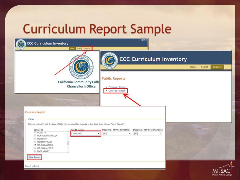 Curriculum Report Sample