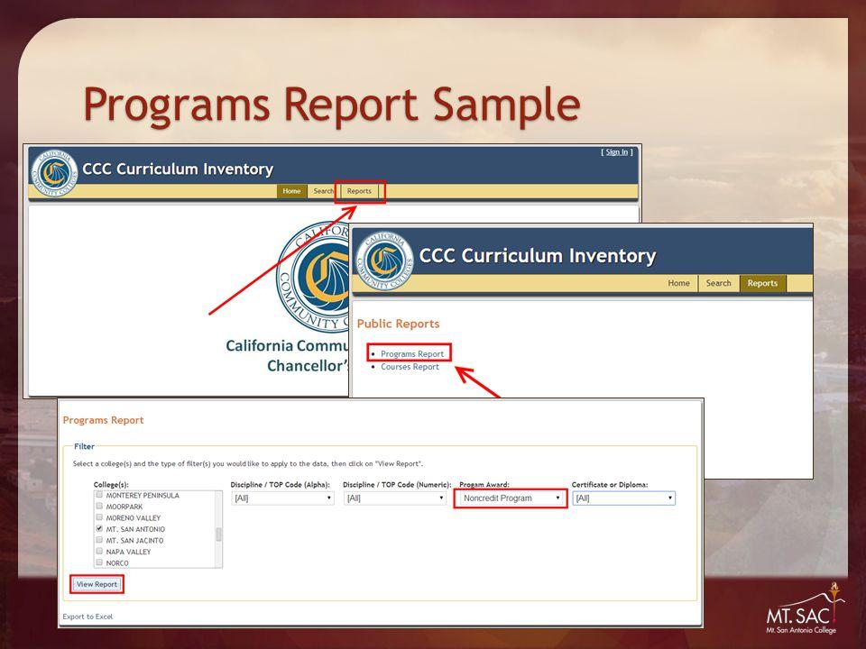 Programs Report Sample